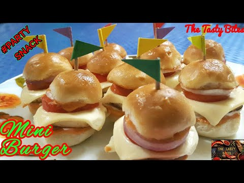 Mini Burger Recipe | Cheesy Mini Veg Sliders | Tasty Snack Recipe| Tiffin Treats | The Tasty Bites