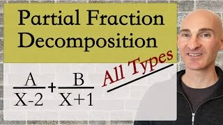 Learn about the different types of partial fraction decomposition in this free math video tutorial by Mario's Math Tutoring. We discuss linear factors, repeated linear factors, quadratic factors, repeated quadratic factors as well as improper fractions.Looking to raise your math score on the ACT and new SAT? Check out my Huge ACT Math Video Course and my Huge SAT Math Video Course for sale athttp://mariosmathtutoring.teachable.comFor online 1-to-1 tutoring or more information about me see my website at:http://www.mariosmathtutoring.com