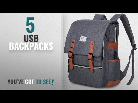 Top 10 Usb Backpacks [2018 Best Sellers]: Modoker Vintage Laptop Backpack With USB Charging Port
