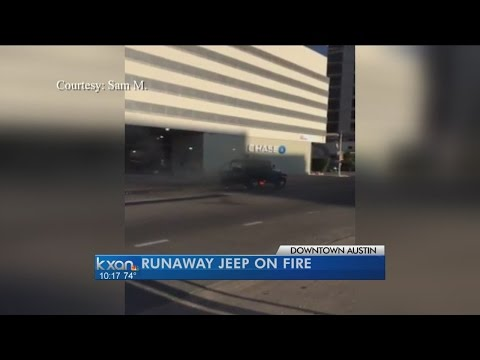 A runaway Jeep on fire drives through city streets of Austin