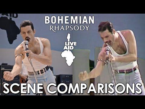 """Сравнение сцен фильма """"Богемская рапсодия"""" и реального концерта Queen - Live Aid"""