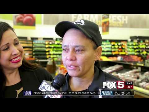 FOX5 Surprise Squad - Cashier Can't Believe Her Favorite Customers Receive Much Needed Groceries