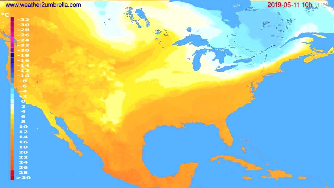Temperature forecast USA & Canada // modelrun: 12h UTC 2019-05-08