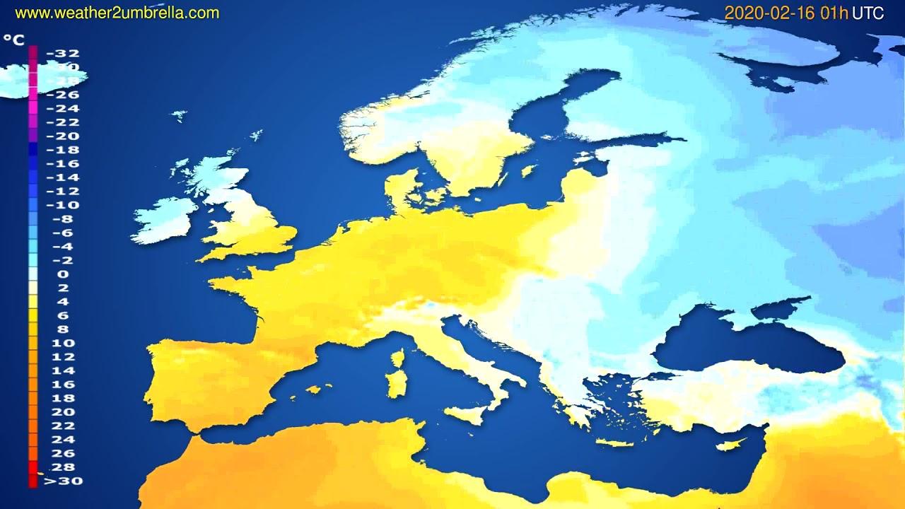 Temperature forecast Europe // modelrun: 12h UTC 2020-02-14