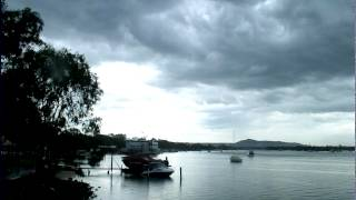 Heavy rain and lightning visible from Noosa River, Australia (time-lapse) - February 21, 2012 (1)