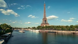 Eiffel Tower by The Seine River & Boats, Paris - Timelapse 4K (Royalty Free Footage)