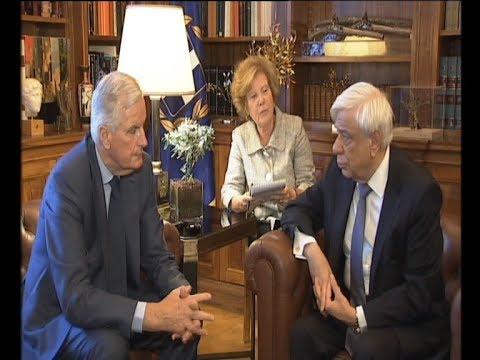 Συνάντηση του Προέδρου της Δημοκρατίας Προκόπη Παυλόπουλου με τον Μισέλ Μπαρνιέ