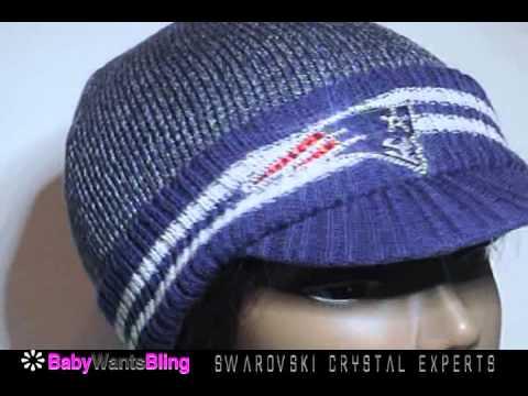 New England Patriots Swarovski Crystal Bling Rhinestone Ladies Knit Beanie Hat Cap