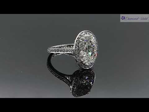 GIA 5 54CT ESTATE VINTAGE OVAL DIAMOND HALO ENGAGEMENT WEDDING RING PLATINUM