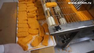 Видео: Производство котлет из куриного фарша. Автомат котлетный, панировщик и фаршемешалка ИПКС.