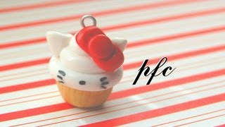 DIY Hello Kitty Cupcake Polymer Clay Charm Tutorial - YouTube