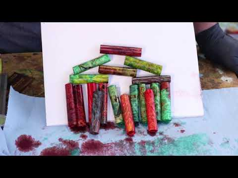 Stabilizing AND coloring a pen blank with Sam Angelo the Wyomingwoodturner