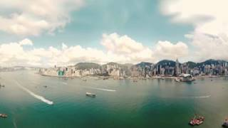 Watch in 360 VR video as boats ply Victoria Harbour in Hong Kong.
