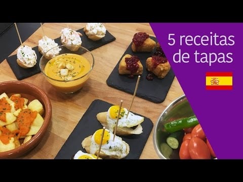 5 receitas de tapas espanholas (queijo frito, batatas bravas, gazpacho, pintxos)