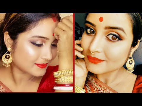 Durga puja makeup tutorial/traditional bengali look 2018