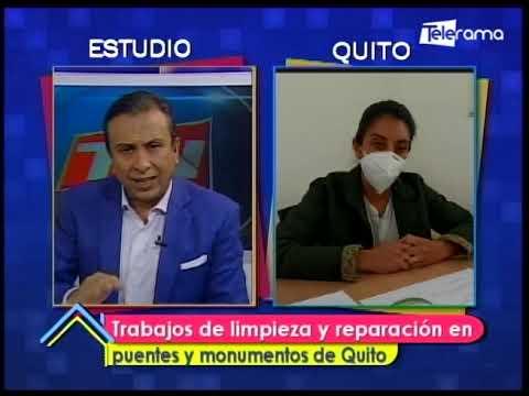 Trabajos de limpieza y reparación en puentes y monumentos de Quito