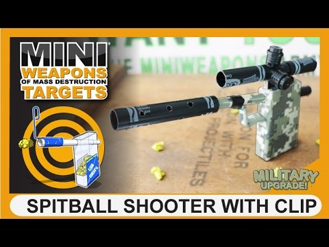 SPITBALL SHOOTER WITH CLIP | MiniWeapons Of Mass Destruction Targets | Homemade Gun Tic Tac