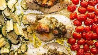 One-Pan Pesto Chicken With Veggies by Tasty