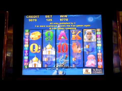 Arabian Nights 4 retriggers slot machine bonus win!