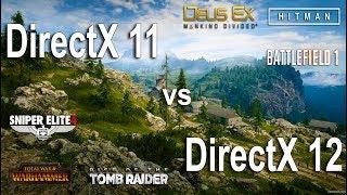DirectX 11 vs DirectX 12 Test in 6 GamesGames:Rise of the Tomb Raider Deus Ex Mankind Divided - 01:36Battlefield 1 - 03:28Sniper Elite 4 - 05:23Total War WARHAMMER - 06:58Hitman 2016 - 07:42System: Windows 10Intel i5 7600k 4.5GhzGTX 1060 6Gb16Gb RAM Kingston DDR4-2400Mhz