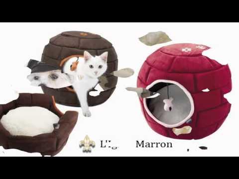 Collection de maisonnettes et de corbeilles pour chat chez AristoLaMalice.com.