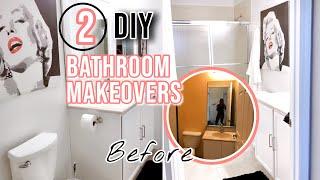 DIY Small BATHROOM MAKEOVER On A Budget | 2 BATHROOMS UNDER $500