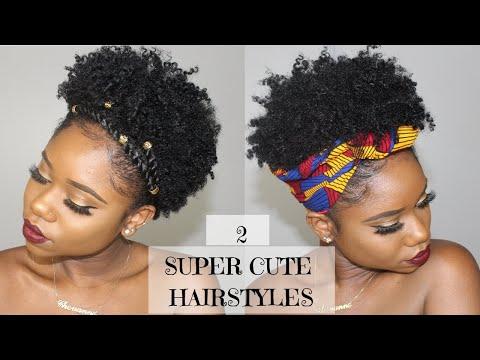 Hairstyles for short hair - Two SUPER CUTE And EASY Hairstyles For SHORT Natural Hair   4B/C Natural Hair  Chev B