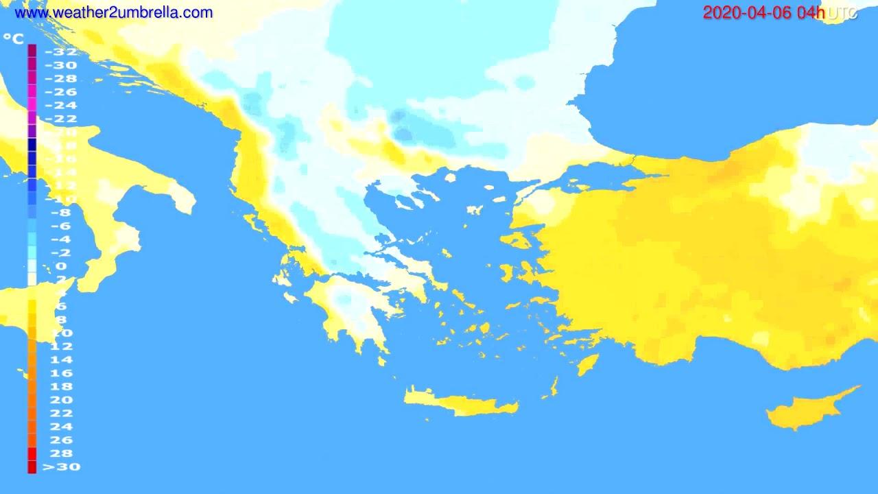 Temperature forecast Greece // modelrun: 12h UTC 2020-04-05