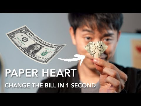 Magically fold an origami Heart in 1 second | Patrick Kun