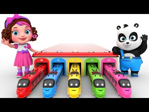 Learn Colors With Toy Trains  -  Pinky and Panda