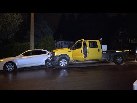Stolen Truck Crashed Into 3 Parked Vehicles Denbigh Ave. Burnaby, B.C. Canada