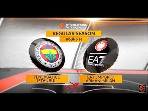 EuroLeague Highlights RS Round 16: Fenerbahce Istanbul 86-79 EA7 Emporio Armani Milan