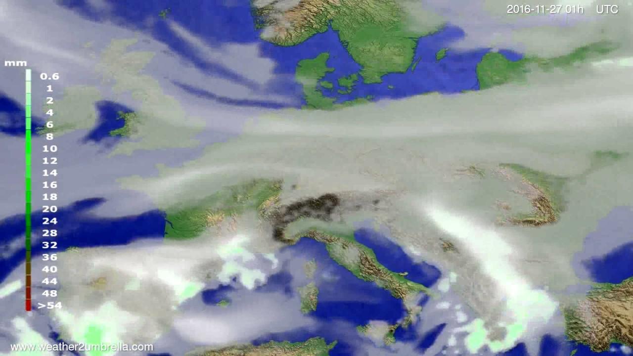 Precipitation forecast Europe 2016-11-24