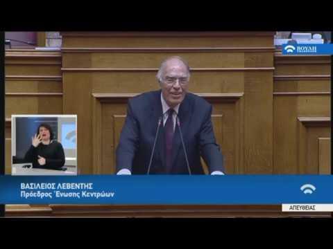 Β.Λεβέντης (Πρόεδρος Ένωσης Κεντρώων) (Συζήτηση για το Δημογραφικό) (05/03/2019)