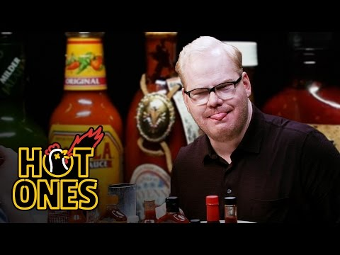 Comedian Jim Gaffigan Does the Hot Ones Hot Wing