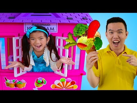Emma Pretend Play Selling Broccoli Ice Cream Cone Vegetable Food Toys