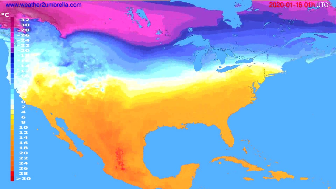 Temperature forecast USA & Canada // modelrun: 12h UTC 2020-01-14