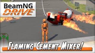 Cement Mixer of Doom! - BeamNG DRIVE - Crash Test Dummy Mod
