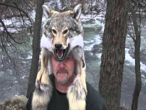 Coyote fur mounted face hat