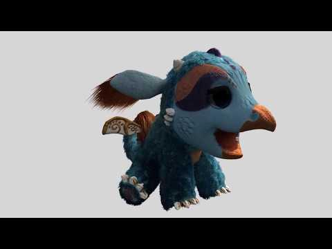 Грифонодракон: анимация приземления и имитации разговора.