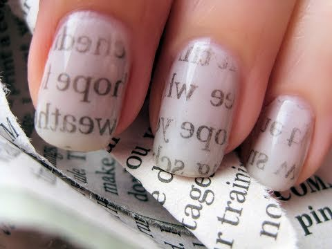 Nails - this step-by-step video will show you how to create newspaper nails. it's a very simple technique! watch this video to see how it's done. facebook.com/cutepo...