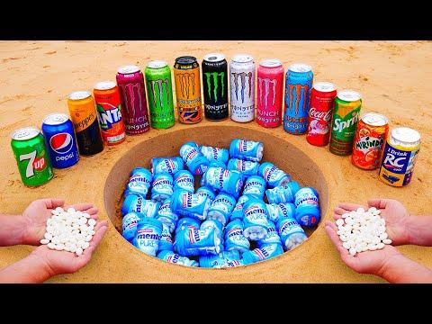 Many Monster Cans, Coca Cola, Fanta, Sprite, Pepsi, Mirinda, Other Sodas and Mentos Underground