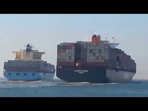 Two container ships collided in the Suez Canal today
