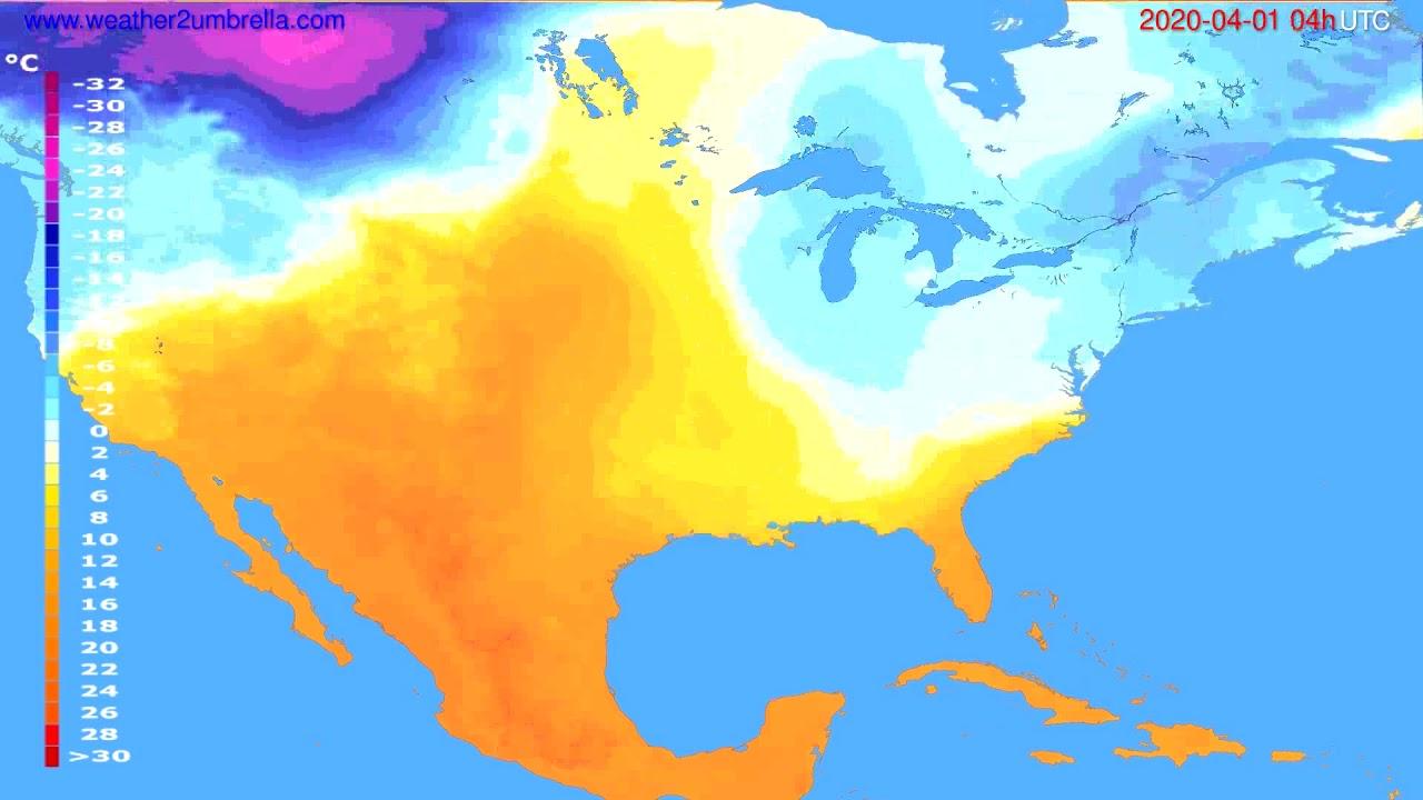 Temperature forecast USA & Canada // modelrun: 12h UTC 2020-03-31