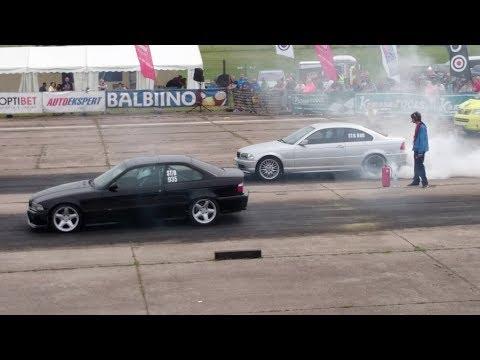 2JZ BMW 318is E36 vs BMW 323CI E46 2.5 Turbo 1/4 mile drag race