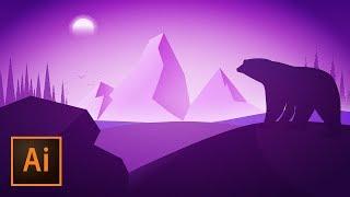 Purple Polar Bear Silhouette Vector Illustration in Adobe Illustrator