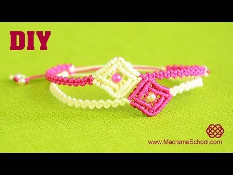 tutorial macramè - bracciale con rombo e perla