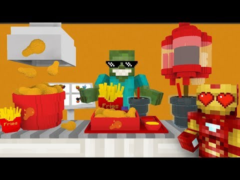 Monster School: WORK AT FRIED CHICKEN PLACE! - Minecraft Animation