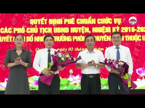 Công bố quyết định phê chuẩn chức vụ các Phó chủ tịch UBND huyện và bổ nhiệm Trưởng phòng chuyện môn huyện