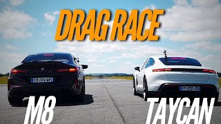 Drag Race : Porsche Taycan VS BMW M8 by Motorsport Magazine